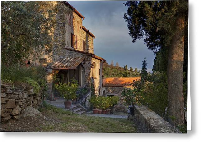 Best Sellers -  - Tuscan Sunset Greeting Cards - Tuscany Farmhouse  Greeting Card by Al Hurley
