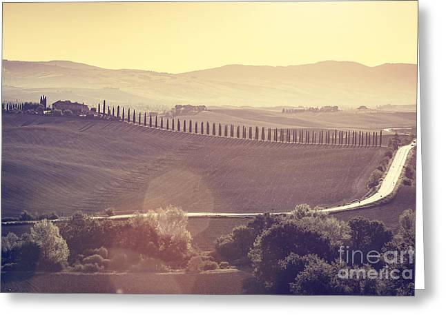 Tuscany Fields And Valleys Autumn Landscape, Italy. Sunset, Vintage Light Greeting Card