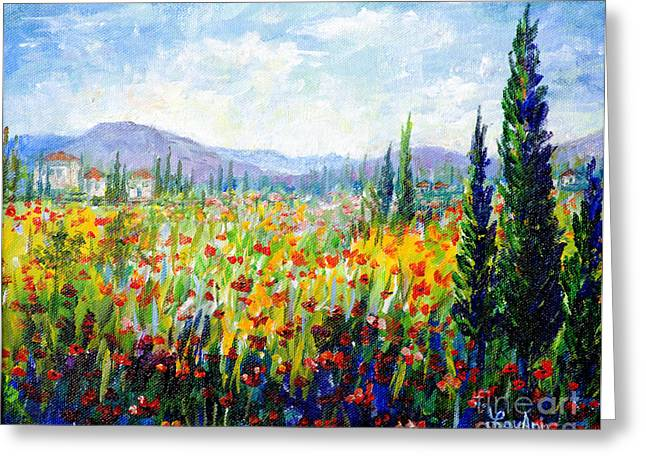 Tuscany Fields Greeting Card by Lou Ann Bagnall
