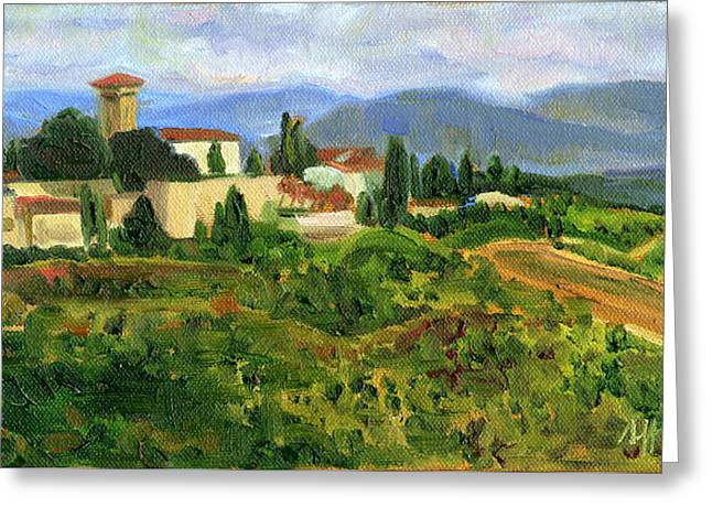 Tuscany From Castello Di Verrazzano Greeting Card by Jennie Traill Schaeffer