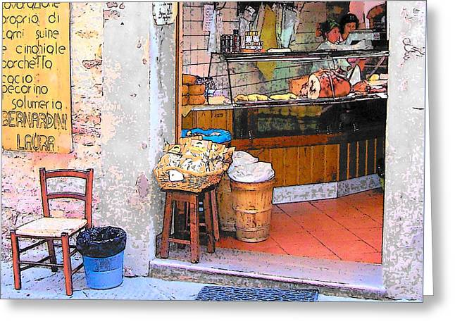 Tuscany - Gourmet Shop Greeting Card by Jan Matson