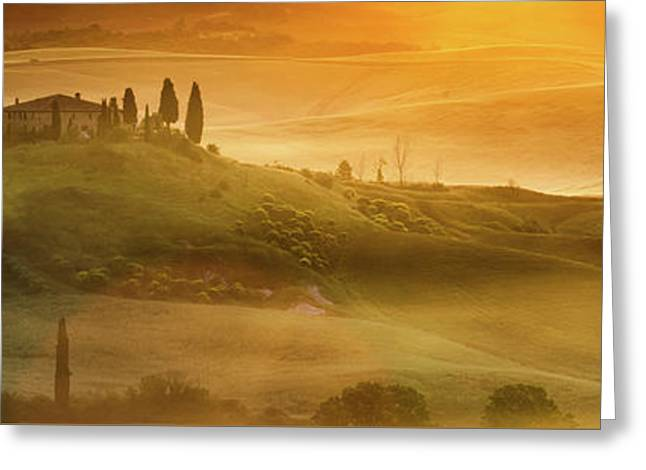 Tuscany In Golden Greeting Card by Evgeni Dinev