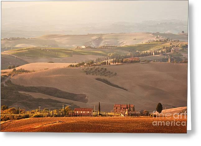 Tuscany Landscape At Sunrise Greeting Card by Michal Bednarek