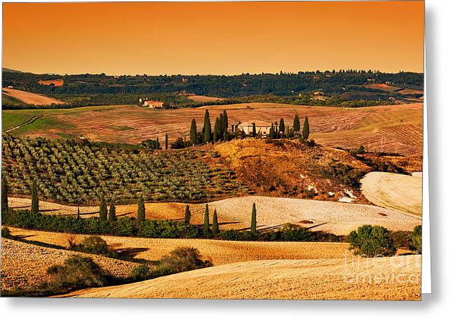 Tuscany Landscape At Sunset Greeting Card by Michal Bednarek