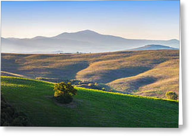 Tuscany Landscape Panorama At Sunrise With A Chapel Of Madonna D Greeting Card