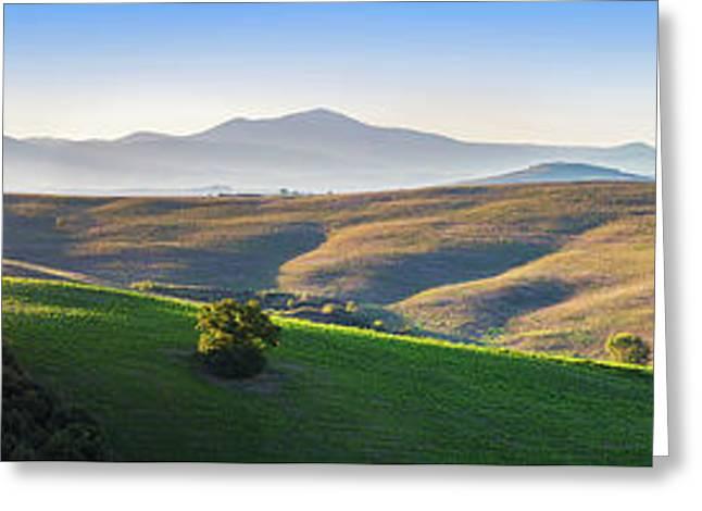 Tuscany Landscape Panorama At Sunrise With A Chapel Of Madonna Di Vitaleta Greeting Card