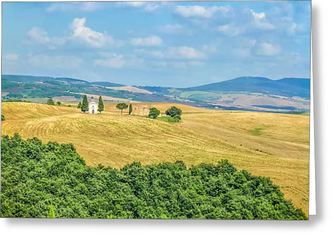 Tuscany Landscape With Famous Cappella Della Madonna Di Vitaleta Greeting Card by JR Photography