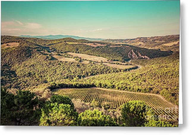 Tuscany Landscape With Green Meadows, Vineyards, Forests. Italy. Aerial Greeting Card by Michal Bednarek