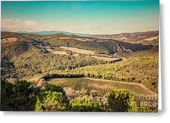 Tuscany Landscape With Green Meadows, Vineyards, Forests Greeting Card by Michal Bednarek