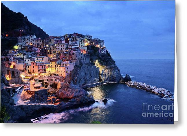 Greeting Card featuring the mixed media Tuscany Like Amalfi Cinque Terre Evening Lights by Rosario Piazza