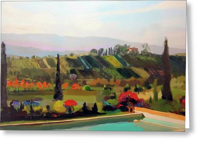 Tuscany Pool Greeting Card by Brad Burns