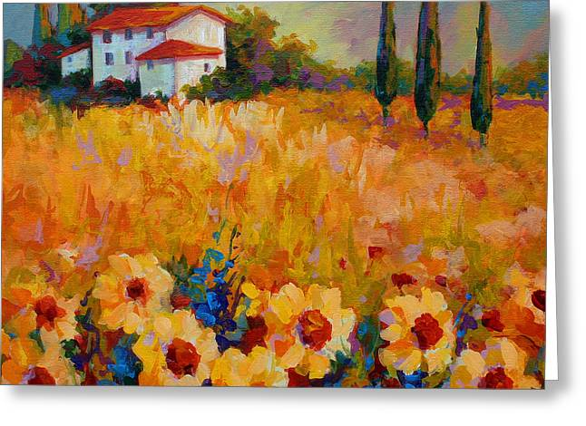 Tuscany Sunflowers Greeting Card by Marion Rose