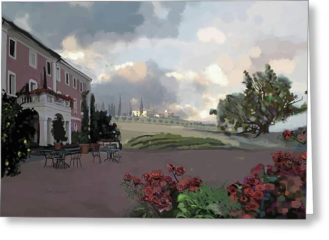 Tuscany Villa Greeting Card by Brad Burns