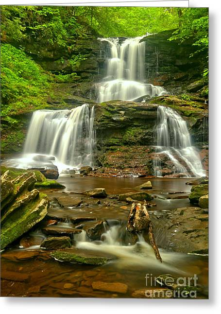 Tuscaroa Cascading Through Ganoga Glen Greeting Card by Adam Jewell