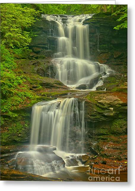 Tuscarora Cascades Greeting Card by Adam Jewell