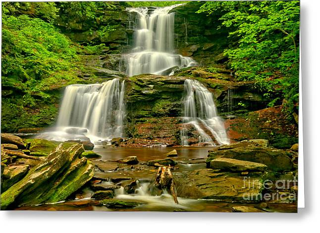 Tuscarora Cascading Over The Rocks Greeting Card by Adam Jewell