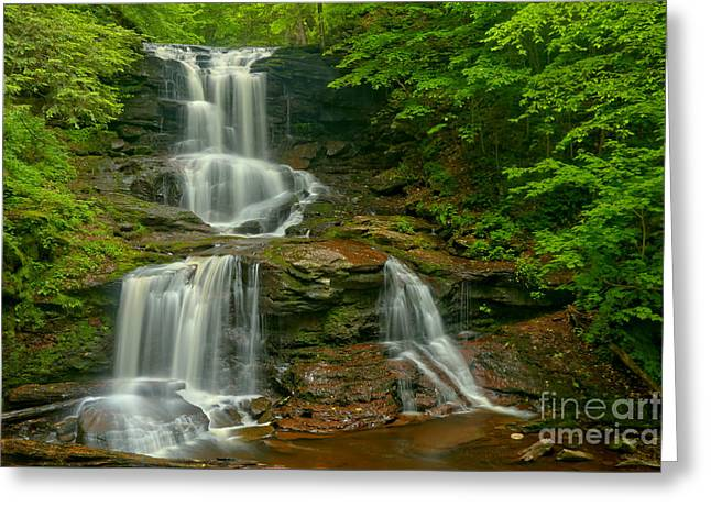Tuscarora Falls Landscape Greeting Card by Adam Jewell