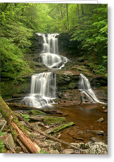 Tuscarora Falls Portrait Greeting Card by Adam Jewell