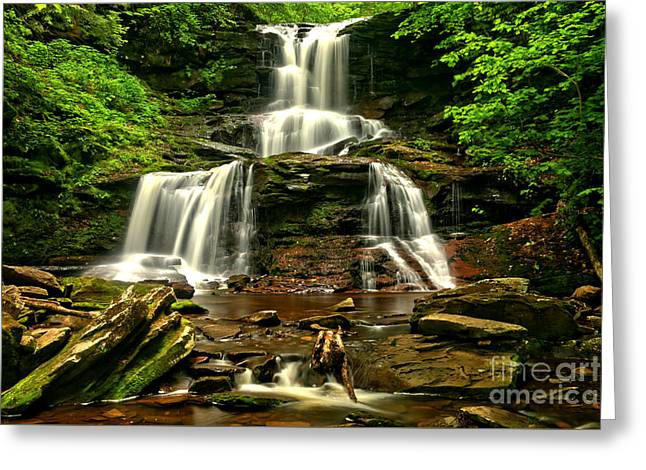 Tuscarora Falls Rocky Cascades Greeting Card by Adam Jewell