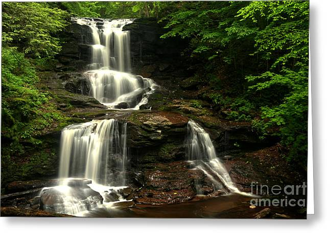 Tuscarora Falls Split Greeting Card by Adam Jewell