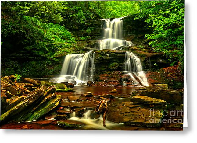 Tuscarora On The Rocks Greeting Card by Adam Jewell