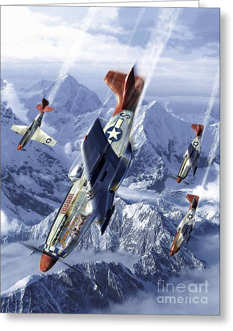 Tuskegee Airmen Flying Near The Alps Greeting Card