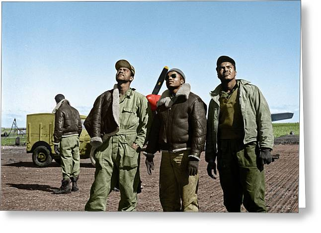 Greeting Card featuring the photograph Tuskegee Airmen by Granger