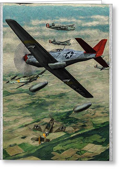Tuskegee Airmen In Aerial Combat 2 - Oil Greeting Card by Tommy Anderson