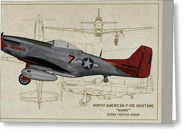 Tuskegee P-51 Mustang Bunnie - Profile Art Greeting Card by Tommy Anderson