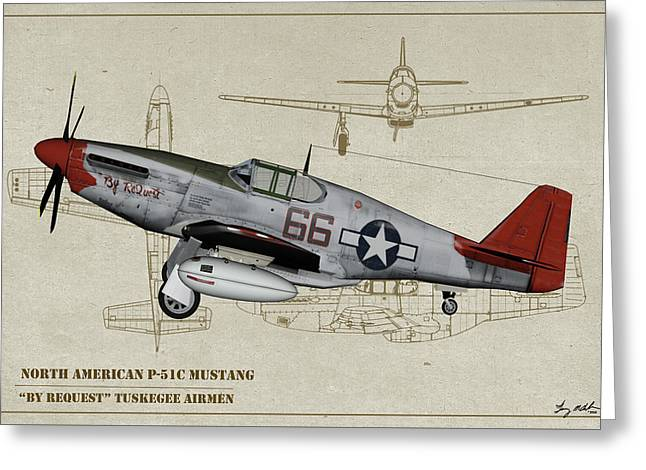 Tuskegee P-51b By Request - Profile Art Greeting Card