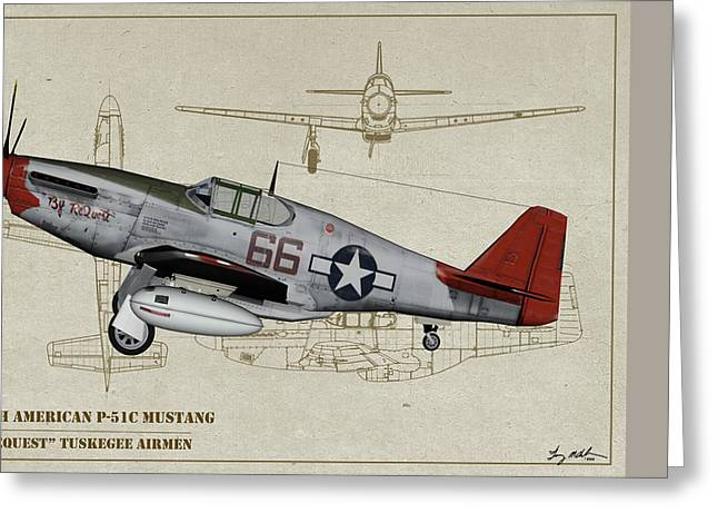 Tuskegee P-51b By Request - Profile Art Greeting Card by Tommy Anderson