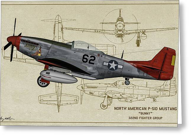 Tuskegee P-51d Bunny Profile Art Greeting Card by Tommy Anderson