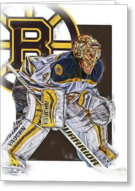 Tuukka Rask Boston Bruins Oil Art 3 Greeting Card