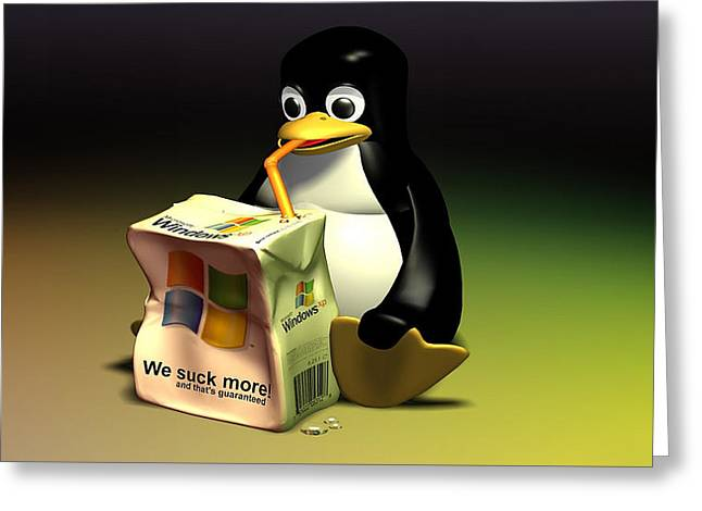 Tux Drinking Up Windows Juice Box-1272 Greeting Card by Jovemini ART