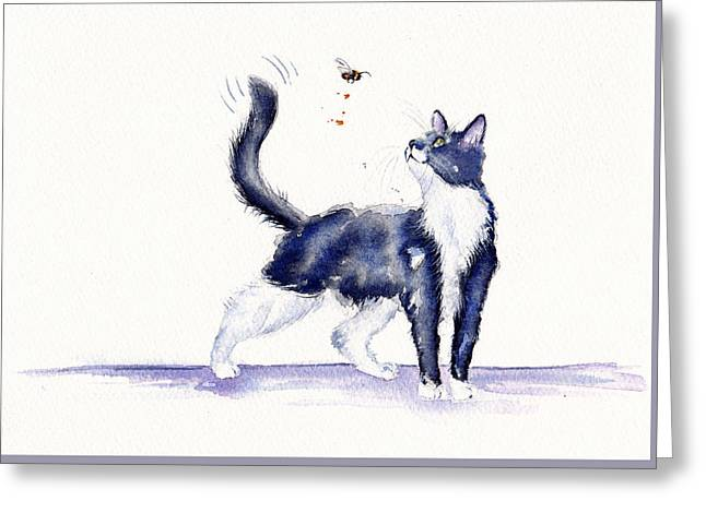 Tuxedo Cat And Bumble Bee Greeting Card by Debra Hall