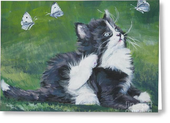 Tuxedo Kitten Greeting Card by Lee Ann Shepard