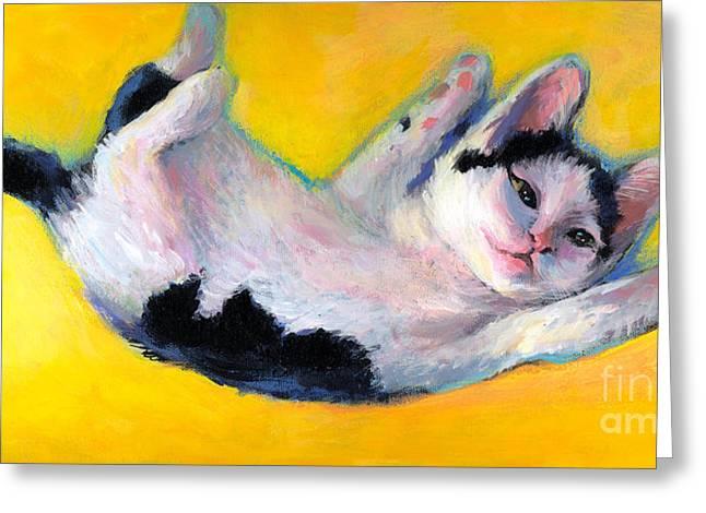 Tuxedo Kitten Painting Greeting Card