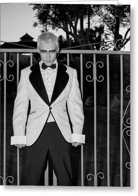 Tuxedo Vampire Greeting Card by William Dey