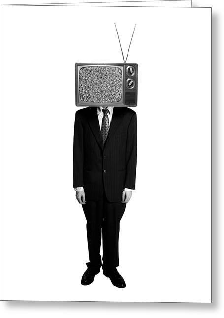 Tv Head Greeting Card by Diane Diederich