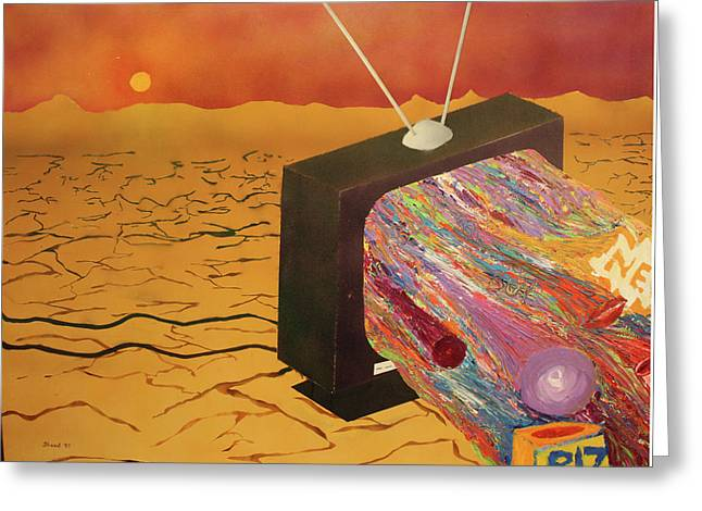 Greeting Card featuring the painting Tv Wasteland by Thomas Blood