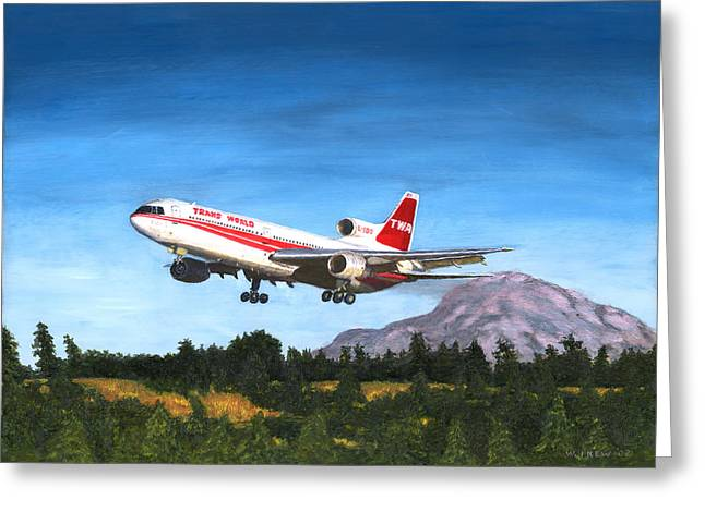 Twa L1011 Landing At Seattle Greeting Card