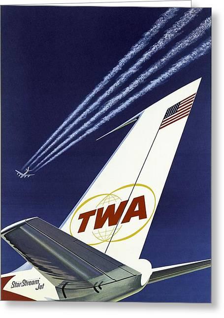 Twa Star Stream Jet - Minimalist Vintage Advertising Poster Greeting Card