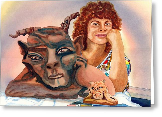 Person Sculptures Greeting Cards - Twas Beauty Made the Beast Greeting Card by Gerald Carpenter