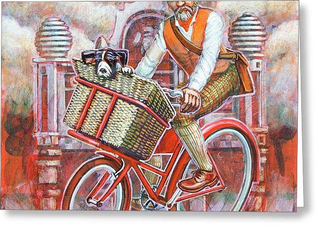 Tweed Runner On Red Pashley Greeting Card by Mark Jones