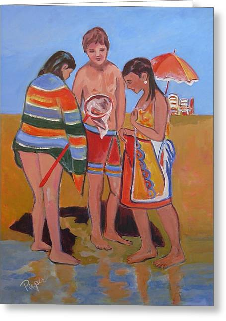 Greeting Card featuring the painting Tweens At The Beach by Betty Pieper