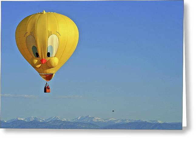 Floating Girl Greeting Cards - Tweety Balloon Greeting Card by Scott Mahon