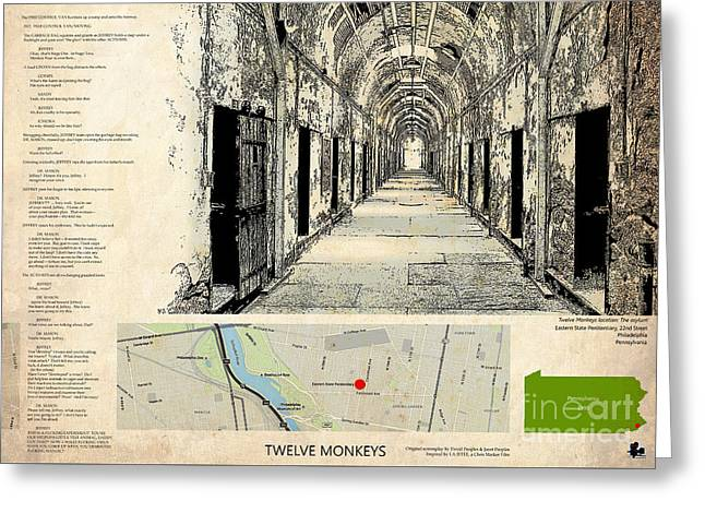 Twelve Monkeys Location Movie, Script, Brad Pitt, Bruce Willis Greeting Card