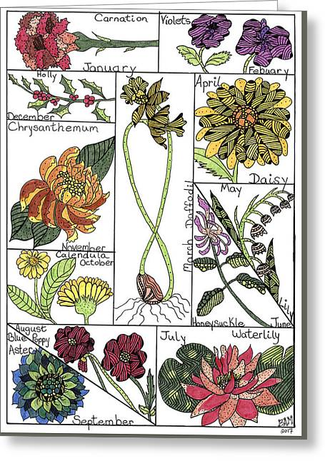 Greeting Card featuring the drawing Twelve Month Flower Box by Barbara McConoughey