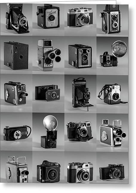 Twenty Old Cameras - Black And White Greeting Card