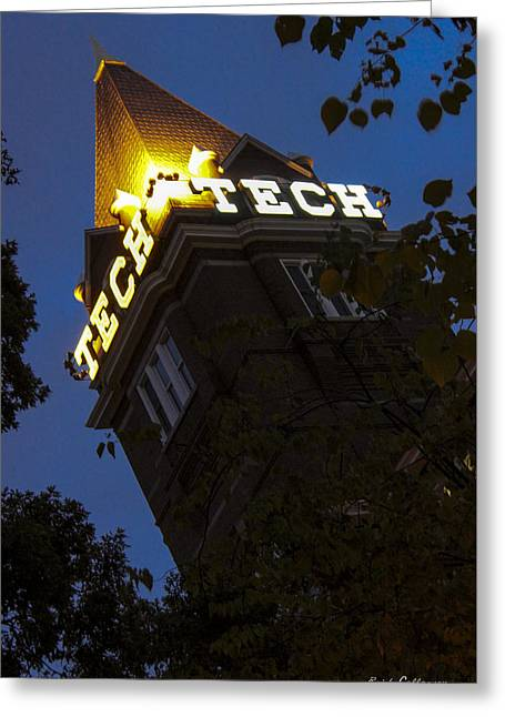 Towering Technology Atlanta Georgia Tech Night Cityscape Greeting Card by Reid Callaway